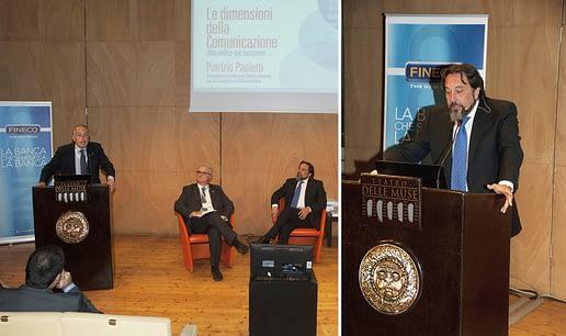 Patrizio Paoletti e Giancarlo Abete durante una lectio magistralis di Paoletti, Ancona 2015